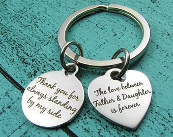 Father of the bride gift from bride, Dad keychain gift from daughter, wedding gift for Dad, Christmas gift Birthday, thank you gift for Dad
