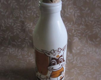 "Vintage Egizia Milk Glass Bottle Brown Cow Cork Stopper 8 1/2"" Tall Italy"
