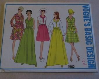 Vintage 70s Vogue Dress Pattern 1942 Shirtwaist B 34 Sz 12 FF