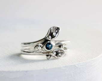 London Blue Topaz,White Topaz Leaf Ring, Engagement Rings, Set of 2 Rings, Small Leaf Silver Rings