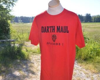 Vintage 1990's Star Wars Episode One The Phantom Menace Darth Maul Embroidered Shirt!!!