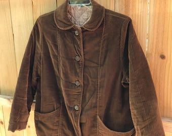 Vintage 70s Ladies Brown Corduroy Coat / Ladies Fingerhut Hippie Boho Quilted Cord Jacket