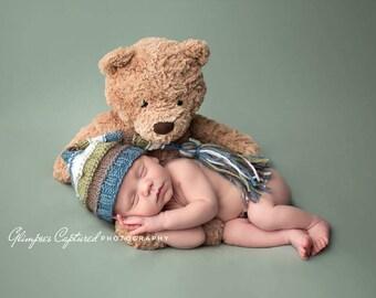 baby hat knit - baby boy stocking hat - baby hat boy newborn - newborn boy hat photography prop -