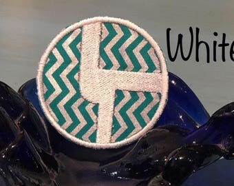Disco Biscuits Iron on teal and silver circle logo patch