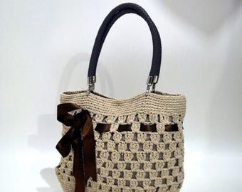 Knitted  Handbag - Handmade Crochet Bag -Beach  crochet bag Shoulder crochet bag with durable leather top handles and internal pockets