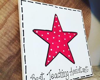Fiver Friday, Best Teaching Assistant Sign, Wooden Sign, leaving present, wooden teacher, teacher gift, school teacher, teacher present