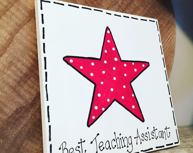 Featured listing image: Fiver Friday, Best Teaching Assistant Sign, Wooden Sign, leaving present, wooden teacher, teacher gift, school teacher, teacher present