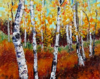 Original Encaustic Painting - Aspen Trees - Fall Aspens - Encaustic Art - Landscape Painting - Beeswax Painting - Impressonism - KLynnArt