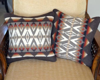PAIR handmade Home Decor Decorative Pillow Covers Native American wool Pacific Crest earth tones tribal arrows Pillow covers shams