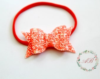 Orange Glitter Bow Headband - Baby Bow Headband - Glitter Bow Headband - Orange Bow Headband - Orange Glitter Headband