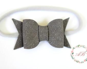 Gray Bow Headband - Suede Bow Headband - Baby Bow Headband - Nylon Headband - Gray Suede Bow Headband