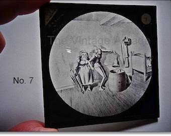 Magic Lantern Slide, Victorian Glass Slides, Victorian Toys, Mr. & Mrs. Brown and the Mouse, Lantern Slides No. 7