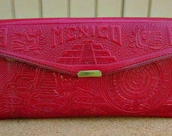 vintage 60s red tooled leather clutch wallet mexico aztec designs with picture slips mirror