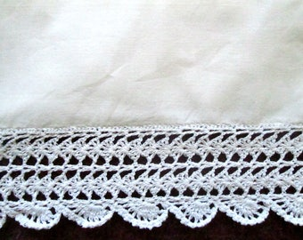 Pair of Vintage Pillowcases with deep crochet trim