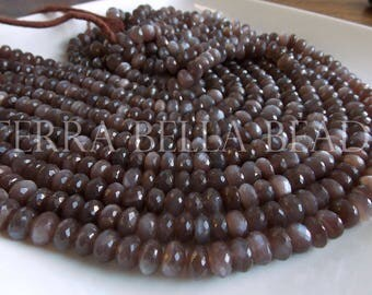 """6.5"""" strand chocolate BROWN MOONSTONE faceted gem stone rondelle beads 8.5mm - 9mm"""
