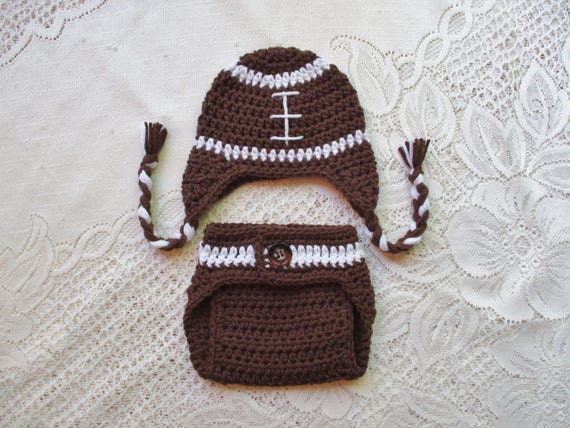 Crochet Football Hat and Diaper Cover Photo Prop Set - Available in 0 to 24 Months