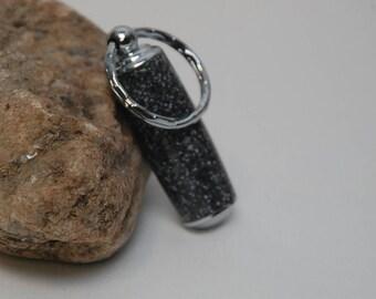 Handmade Pill Holder Key Chain- Black/White Spot Corian Acrylic