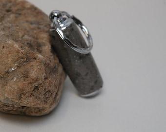 Handmade Pill Holder Key Chain- Gray Corian Acrylic