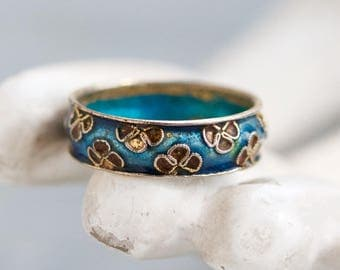 Cloisonne Wedding Ring Band - Enamel Flowers - Size 9