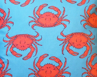 Turquoise Crab Fabric - upholstery fabric - curtain fabric - crab fabric - designer fabric - crab - fabric by the metre - home decor