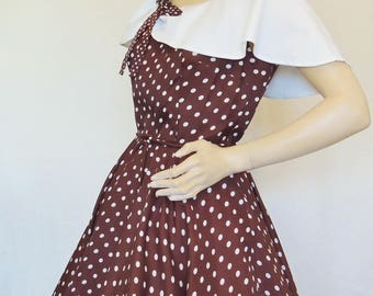 CUTE Vintage Dress, Nutmeg Brown Polkadot Wide Capelet Collar