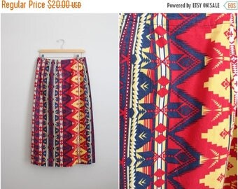 20% OFF SALE // Vintage Tribal Navajo Southwest pattern Maxi Skirt / High waisted Skirt/ 1980s Skirt / Size S/M