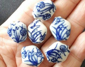 6pcs-white blue Art Porcelain beads, ceramic hand painted flower  beads