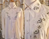 VTG 80s White Ivory Rose Embroidered Pearl Button Top Shirt Blouse Long Sleeve L