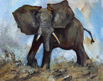 "African Elephant  Original Painting on 9"" x 12"" Watercolor Paper.  African Art, Animal of Africa, Unframed art wall decor, Animal art"