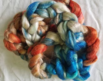 "3oz 100 % tussah silk roving hand dyed for spinning yarn making needle felting fiber arts supplies ""Autumnal"" Colorway Blue & Burnt Orange"