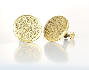 Accessocraft Taille d'Epargne Victorian revival Earrings, screw back clip on Round Earrings gold tone