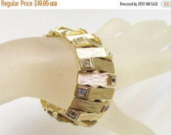 ON SALE Vintage Chunky Modern Clear Rhinestone Gold Link Bracelet