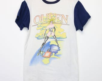 Queen Shirt Vintage tshirt 1982 Hot Space Tour Concert Tee 1980s Freddie Mercury Brian May Roger Taylor John Deacon Rock And Roll