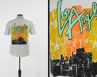 Vintage Los Angeles T-shirt 80s Neon Skyline Fluorescent LA Orange - Size Large