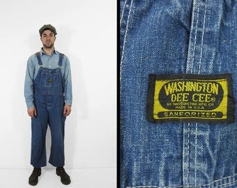 Vintage Washington Dee Cee Overalls Sanforized Indigo Denim Workwear Bibs - Medium / Large
