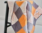 Modern Baby Quilt - Ready to Ship - Orange and Gray - Fox and Arrow - Modern Baby Blanket - Nursery - Baby Shower - Crib - Baby Boy
