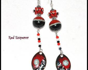 Red Black and White Earrings,Boho Earrings,Long Dangle Earrings,Whimsical Earrings,Unique Earrings - RED EMPEROR