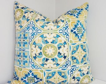 FALL Is COMING SALE Outdoor Deck Patio Pillow Cover Mosaic Print Blue  Yellow Green Outdoor Pillow