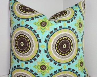 FALL is COMING SALE Sale Outdoor Blue Brown Lime Medallion Pillow Cushion Covers Porch Pillows 18x18