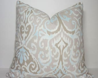 Taupe Beige Grey Powder Blue Ikat Design Home Decor by HomeLiving Pillow Cover Size 18x18