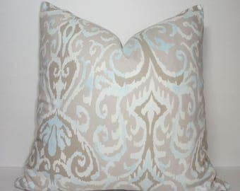 INVENTORY REDUCTION Taupe Beige Grey Powder Blue Ikat Design Home Decor by HomeLiving Pillow Cover Size 18x18
