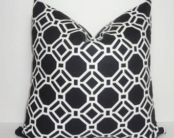 OUTDOOR Black and White Geometric Home Decor by HomeLiving Pillow Cover Size 18x18