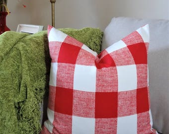 Large Buffalo Checked Red Plaid Pillow Covers Large Checked Red & White Plaid Pillow Covers Choose Size