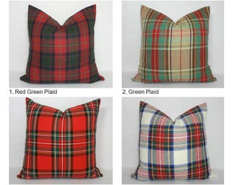Christmas Holiday Seasonal Plaid Red Burgundy Cobalt Green Cotton Plaid Pillow Cover Home Decor by HomeLiving
