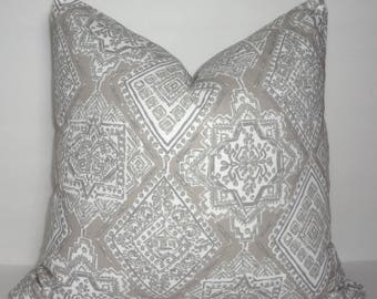 INVENTORY REDUCTION Ecru Taupe White Milan Oriental Pattern Couch Pillow Cover Size 18x18