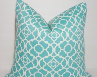 SPRING FORWARD SALE Waverly Lovely Lattice Aqua & White Geometric Pillow Cover Decorative Pillow Cover Size 18x18
