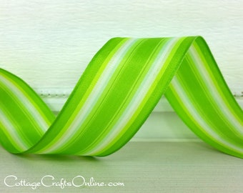 """Wired Ribbon, 1 1/2"""", Green Striped Satin  - THREE YARDS - Offray """"Spring Grass Stripe"""" St. Patrick's Day, Spring, Summer Wire Edged Ribbon"""