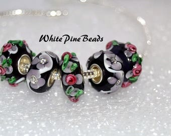 Purple Murano Glass Beads  5 PC Set  for European  Charm Bracelets European Style Charm  WhitePineBeads