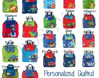 Monogrammed Toddler Backpack Quilted Boys backpack Girls Backpack
