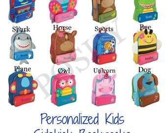 Monogrammed Kids Backpack , Personalized Toddler Backpack, Stephen Joseph Sidekicks Toddler Girls Boys 12 different designs